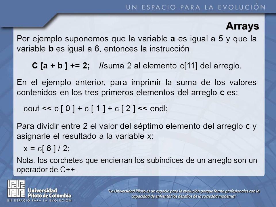 C [a + b ] += 2; //suma 2 al elemento c[11] del arreglo.